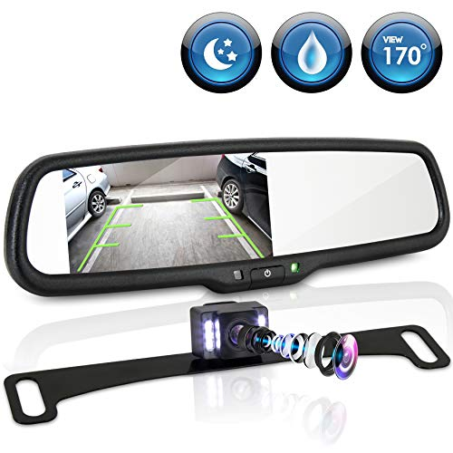 "Rear View Backup Camera System - Parking Reverse Car Vehicle Rearview Back Up w/ 4.3"" LCD Mirror Monitor Kit, Distance Scale Lines, Tilt Adjustable Cam Angle, Mounts on License Plate - Pyle PLCM4565"