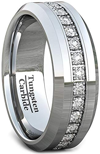 Duke Collections Mens Wedding Band Classic 8mm Tungsten Ring Polished Fully Stacked Cubic Zircon Beveled Edge Comfort Fit (10)