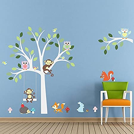 Elecmotive cartoon forest animal monkey owls fox rabbits hedgehog tree swing nursery wall stickers wall murals