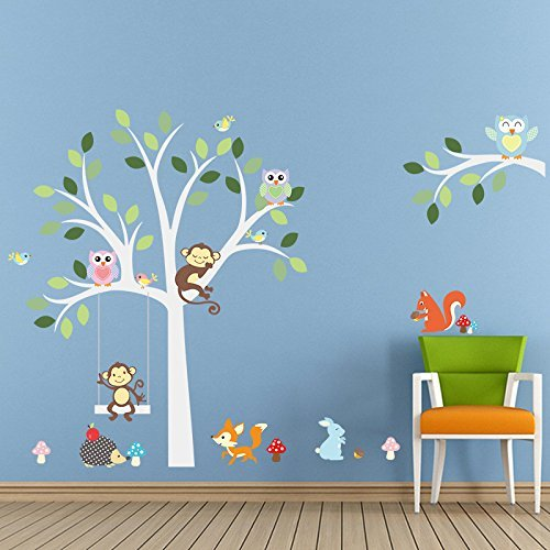 ElecMotive Cartoon Forest Animal Monkey Owls Fox Rabbits Hedgehog Tree Swing Nursery Wall Stickers Wall Murals DIY Posters Vinyl Removable Art Wall Decals for Kids Girls Room Decoration (Monkey Owls) EW-011016