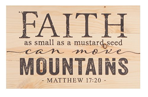 Mountain Woods Natural Wood - P. GRAHAM DUNN Faith Mustard Seed Move Mountains Natural 17 x 10.5 Wood Pallet Wall Plaque Sign