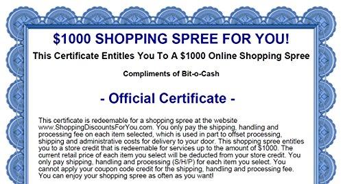 $1000 Online Shopping Spree Certificate