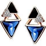 Abstract Triangle Cluster Blue Crystal Black Enamel Rose Gold Plated Stud Earrings