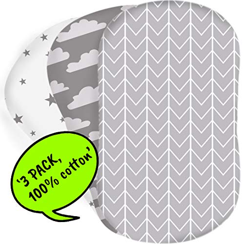 Bear's Little Fish 3-Pack of Bassinet Sheets | 100% Hypoallergenic Jersey Cotton | Gender Neutral Grey and White for Baby boy or Girl | Fitted Crib Sheets for Oval, Rectangle and Hourglass Mattress - Moses Basket Fitted Sheet