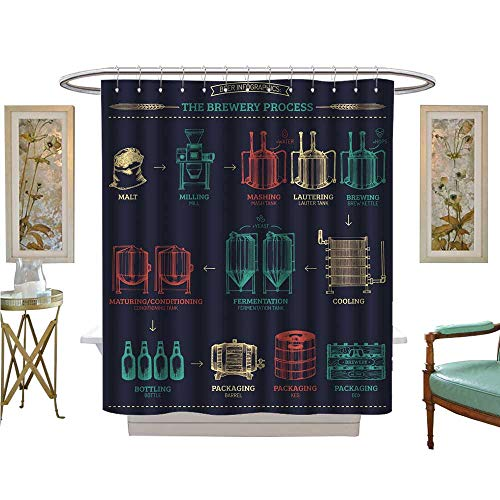 luvoluxhome Shower Curtains with Shower Hooks Vector Beer infographics with Brewery Process ale produc Design Fabric Bathroom Set with Hooks W54 x L78