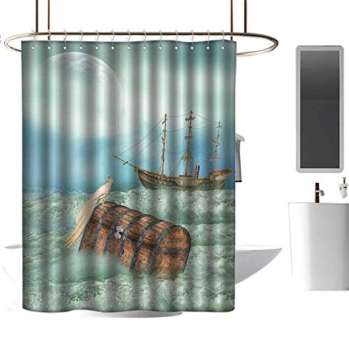 - Qenuan Shower Curtain Fantasy,Antique Old Trunk in Ocean Waves with Magic Bird Pirate Boat Picture,Mint Green Pale Caramel,Hand Drawing Effect Fabric Shower Curtains 36