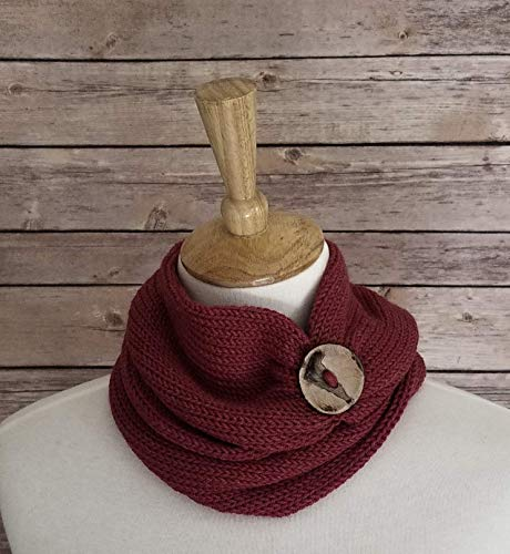 (Womens Red Infinity Scarf Handmade with Coconut Button)