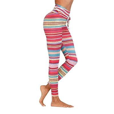 Targogo Polainas De Las Mujeres De Moda De Elástico De Impresión Rayas Lápiz Pantalones Entrenamiento Fitness Correr Pantalones De Yoga Pantalones Pantalones De Chándal: Ropa y accesorios