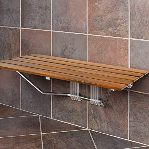 "Clevr 36"" ADA Compliant Foldable Double Seat Teak Wood Shower Bench, 400lb Capacity, Clear Coated for Extra Protection, Folding Wall Mount Modern Chrome, Medical Fold Up Bathroom Stool Chair"