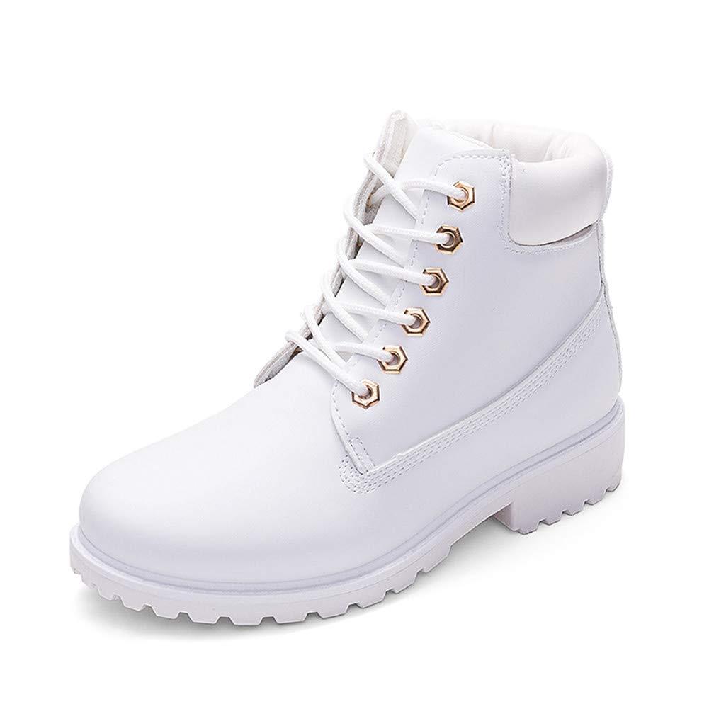 SMARTEN Botas Mocasines Botas Nieve Mujer Otoñ o Invierno Calentar Piel Forro Botines Retro Snow Boots Cordones Zapatillas Botas Planas Botas Martin Gris Rosa 36-45