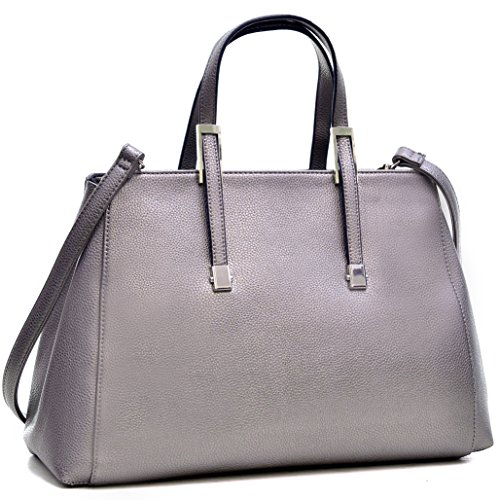 Dasein Classic Faux Leather Satchel Briefcase Handbag, Tablet, iPad Bag (Classic Style, 303054 - Silver)