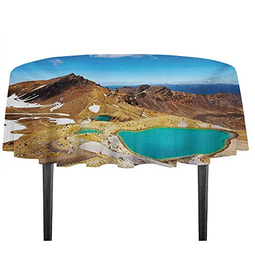 (Gloria Johnson New Zealand Leakproof Polyester Tablecloth Tongariro National Park Emerald Lakes and Mountains Natural Tourist Attractions Outdoor and Indoor use D35.4 Inch Multicolor)