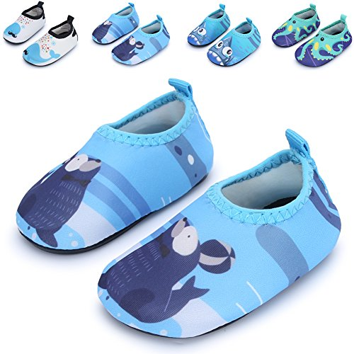 Baby and Kids Athletic Sneakers Barefoot Water Shoes for Beach Swim Pool,Blue Seal 12-18 Months