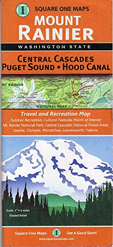 Mount Rainier, Central Cascades, Puget Sound and Hood Canal - Map Of One Square