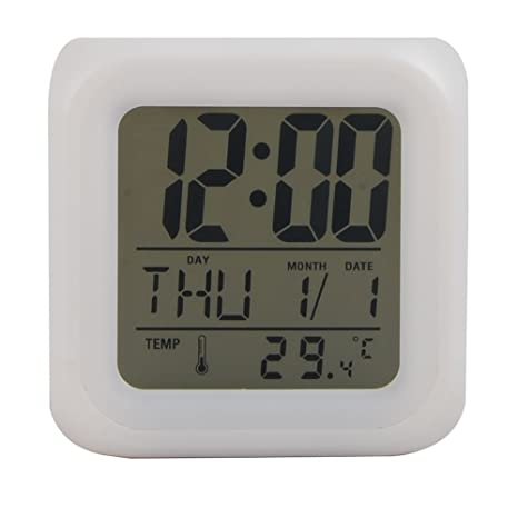 Ocamo Despertadores con LED Cambio de Color LCD, LCD Reloj Despertador Termómetro Fecha Hora Luz