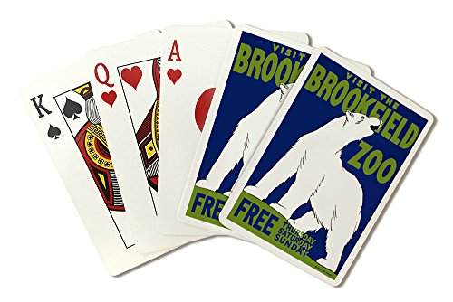Brookfield, Illinois - Brookfield Zoo Poster - Polar Bear - Vintage Advertisement (Playing Card Deck - 52 Card Poker Size with Jokers) -