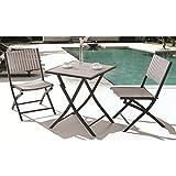 Royal Garden Aluminum Bistro Square Table Set - Grey