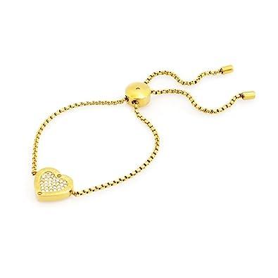 c95cd6aa1d07 [マイケルコース] MICHAEL KORS MKJ4140710 Pave Gold-Tone Heart Charm Slider  Bracelet パヴェ