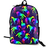 Mwsgs90 Laptop Backpack Rainbow Horses Fun Celebrate Computer Bag College School Backpack Unisex