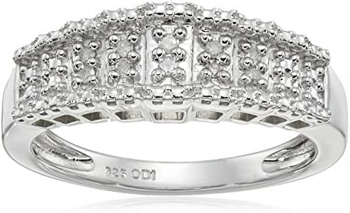 Sterling Silver Diamond 0.06cttw Step Ring, Size 6