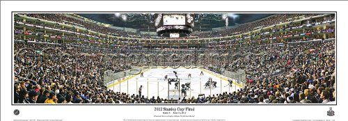 """NHL Hockey Los Angeles Kings 2012 Stanley Cup Final Game 6 - 13.5x39 Panoramic Poster. Frame Dimensions 15.5x41 Deluxe Double Matt & Brown """"Mahogany"""" Wood Frame w/Plexi Glass #4027"""