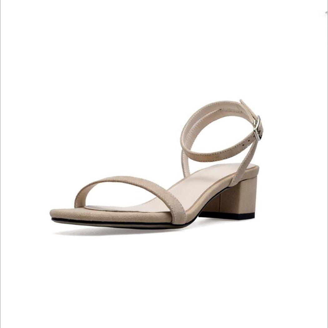 ZZZJR Frauen Sommer Cool Button Sandalen Offen-Toed Frauen Einfache Knouml;chelriemen Medium Thick Schuhe Mary Jane Sandalen  39|Nat眉rlich
