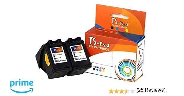 TS-Print Cartuchos de Tinta 2x 304XL Negro HP Impresora Deskjet 2600 2620 2621 2622 2623 2630 2632 2633 2634 3700 3720 3730 3732 3735 3750 3758 3760 ...