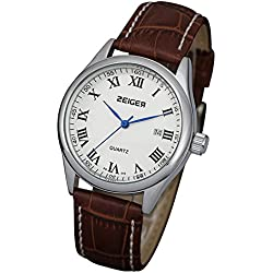 Zeiger New Fashion Mens Classic Luxury Casual Analog Wrist Watch Day Display, Brown Leather Band Blue Pointer A2Z313 (Classic 2)