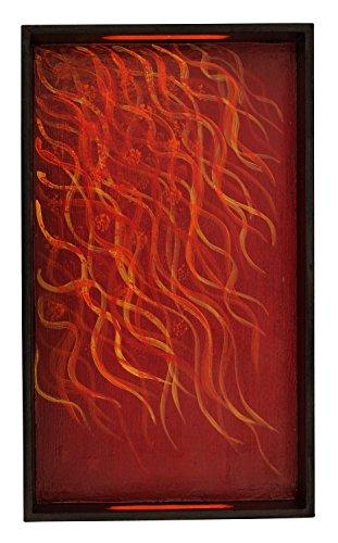 Yellow Rectangular Tray - SouvNear 12 Inch Decorative Wood Tray Hand-Painted Fiery Yellow Orange & Black Rectangular Tray Kitchenware/Tableware/Bathroom Vanity Accessories