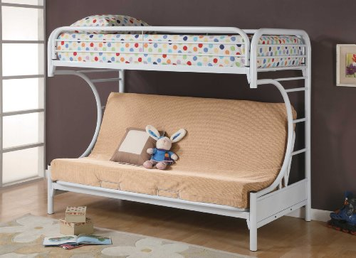 Coaster Twin/Futon Bunk Bed, High Gloss White by Coaster Home Furnishings