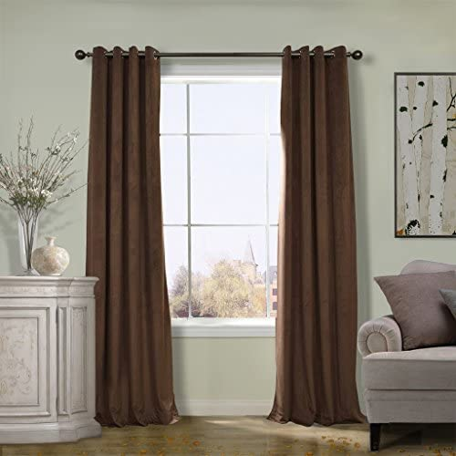 COFTY Super Soft Solid Matt Velvet Curtain Drapes Java 50Wx108L Inch Set of 2 Panels – Nickle Grommet – Birkin Collection School Theater Bedroom Living Room Hotel