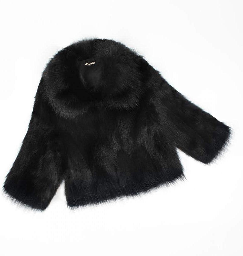 SONGANG Women Vintage Winter Warm Fluffy Short Faux Fur Coat Black Jacket Parka Outwear