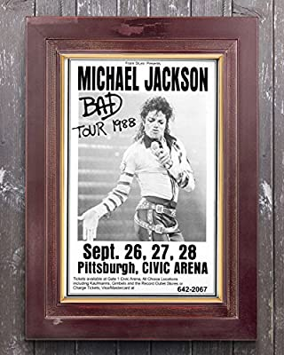 Michael Jackson 1988 Bad Tour Retro Art Print - Poster Size - Print of Retro Concert Poster - Features Michael Jackson, LaVelle Smith, Evaldo Garcia, Randy Allaire and Dominic Lucero .