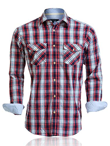 Mens Shirts Long Sleeve Casual with Pockets Western Plaid Shirts Rugular Fit with Soft Washing Effect (US05LS07,M) (Plaid Sleeve Casual Long)