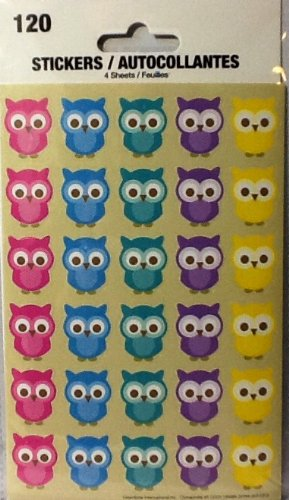 Owl Stickers ~ 4 Sheets ~ 5 Colors of Adorable Owls ~ 120 Stickers ~ Hoot & Howl