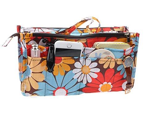 Printed Organizer Pockets Handbag Handles
