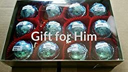 Gift Set for Him with 12 foil-wrapped 2.5 oz bath bombs