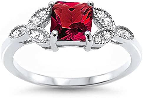 Sterling Silver Princess Cut Simulated Ruby & Pave Cubic Zirconia Ring Sizes 5-10