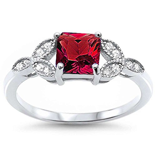 Ruby Oxford (Sterling Silver Princess Cut Simulated Ruby & Pave Cubic Zirconia Ring Sizes 5)