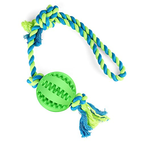 Airsspu Dog Chew Toy Cotton Rope Ball for Tug of War with Your Small Medium - Solid Rubber Ball on Rope for Reward, Fetch, Play - Natural Rubber - Effective Tooth Cleaning