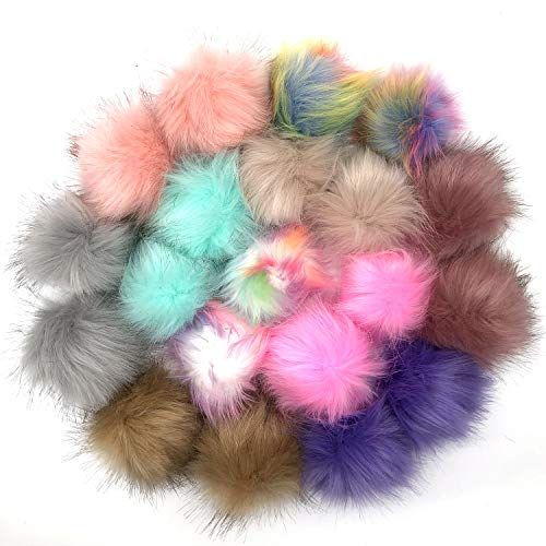 Anvin 20 Pcs Faux Fox Fur Fluffy Pompom Balls for Hats Shoes Scarves Bags Charms Gloves Keychains(10 Mix Classic Colors, 2 Pcs Each Color)