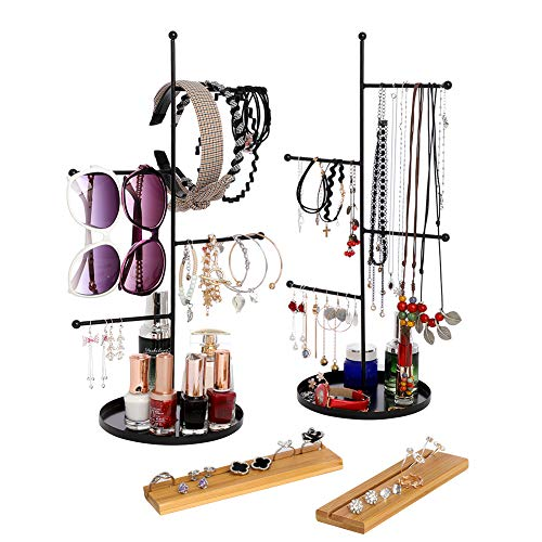 Furniture Life 4 Tier Hanging Jewelry Organizer and Bamboo Ring Storage, Jewelry Display Stand Tree with Round Tray to Organize Necklaces, Bracelets, Earrings, Rings, Watches (Two Packs)