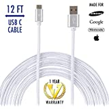 vCharged 12 FT Longest USB Type C Nylon Braided Charging Cable Cord for Samsung Galaxy Note 8, S8, Chomebook, Nintendo Switch & More