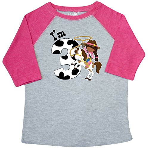 inktastic I'm Three-Cowgirl Riding Toddler T-Shirt 4T Heather and Hot Pink (Cowgirl Dark T-shirt)