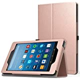 MoKo Case for All-New Amazon Fire HD 8 Tablet (7th Generation, 2017 Release Only) - Slim Folding Stand Cover for Fire HD 8, Rose Gold (with Auto Wake / Sleep)