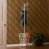 Antique White Umbrella Stand, Coat Rack / Hall Tree, Nature-themed Tree Stand with Its Attractive Design of Pine Cones and Curlicues