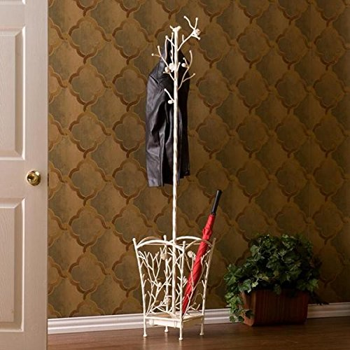 Antique White Umbrella Stand, Coat Rack / Hall Tree, Nature-themed Tree Stand with Its Attractive Design of Pine Cones and Curlicues by ( Upton Home )