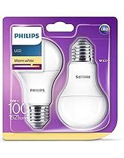 Philips Lighting 929001234561 Philips Lighting Lampadina LED, Warm White Goccia, Attacco E27, 13 W Equivalenti a 100 W, 2700K, Blister Doppio, Bianco, 2 unità