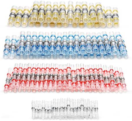 Kuject 120PCS Solder Seal Wire Connectors, Self-Solder Heat Shrink Butt Connector Waterproof Insulated Electrical Butt Splice Wire Terminals for Marine Automotive Aircraft Boat Truck Stereo Wire Joint