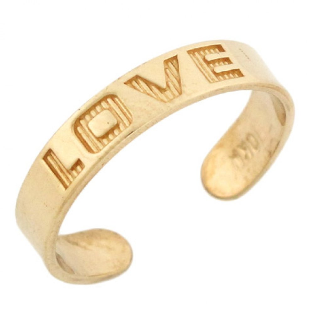 14k Solid Yellow Gold Love Toe Ring